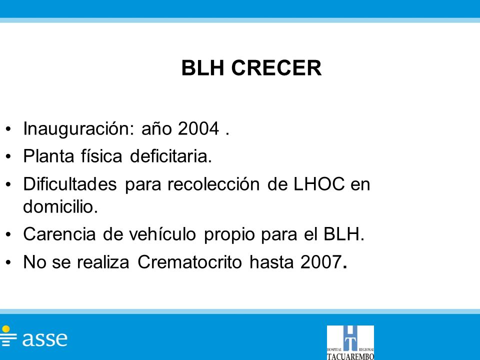 BLH CRECER Inauguración: año 2004. Planta física deficitaria. Dificultades para recolección de LHOC en domicilio. Carencia de vehículo propio para el