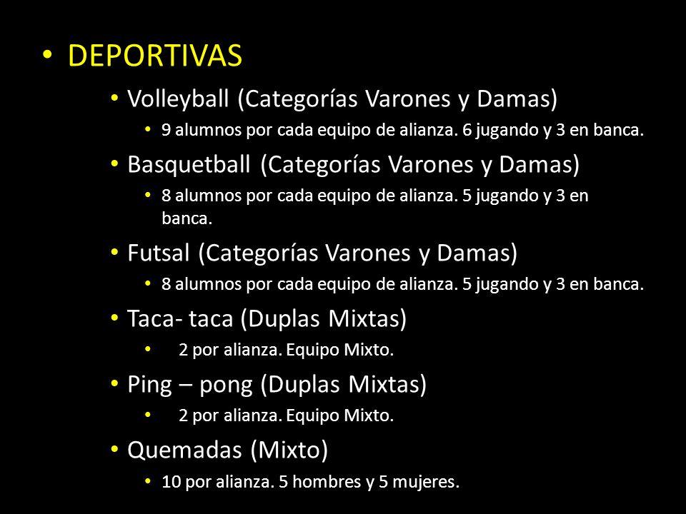 DEPORTIVAS Volleyball (Categorías Varones y Damas) 9 alumnos por cada equipo de alianza. 6 jugando y 3 en banca. Basquetball (Categorías Varones y Dam