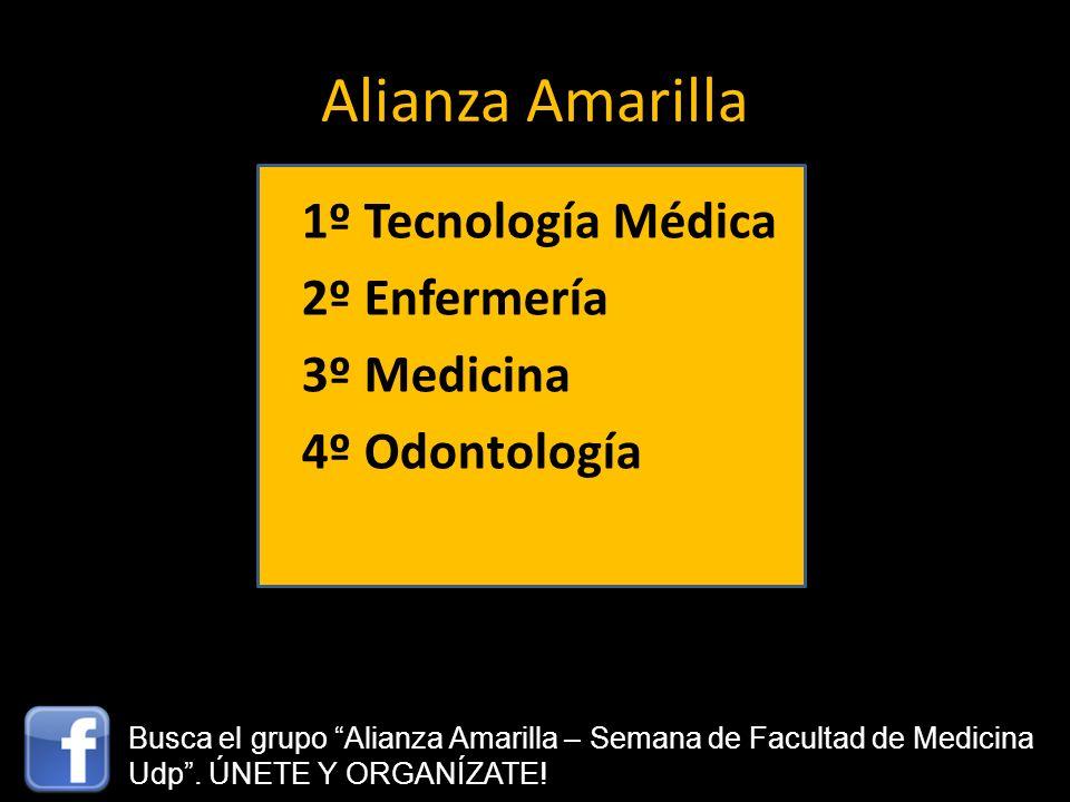 Alianza Amarilla 1º Tecnología Médica 2º Enfermería 3º Medicina 4º Odontología Busca el grupo Alianza Amarilla – Semana de Facultad de Medicina Udp. Ú