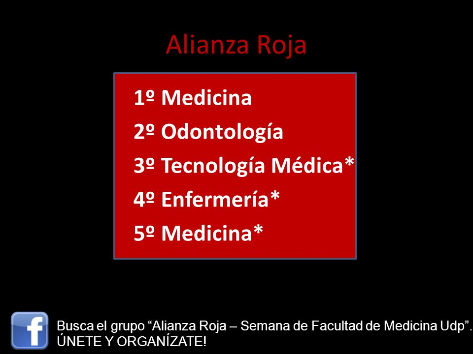 Alianza Roja 1º Medicina 2º Odontología 3º Tecnología Médica* 4º Enfermería* 5º Medicina* Busca el grupo Alianza Roja – Semana de Facultad de Medicina
