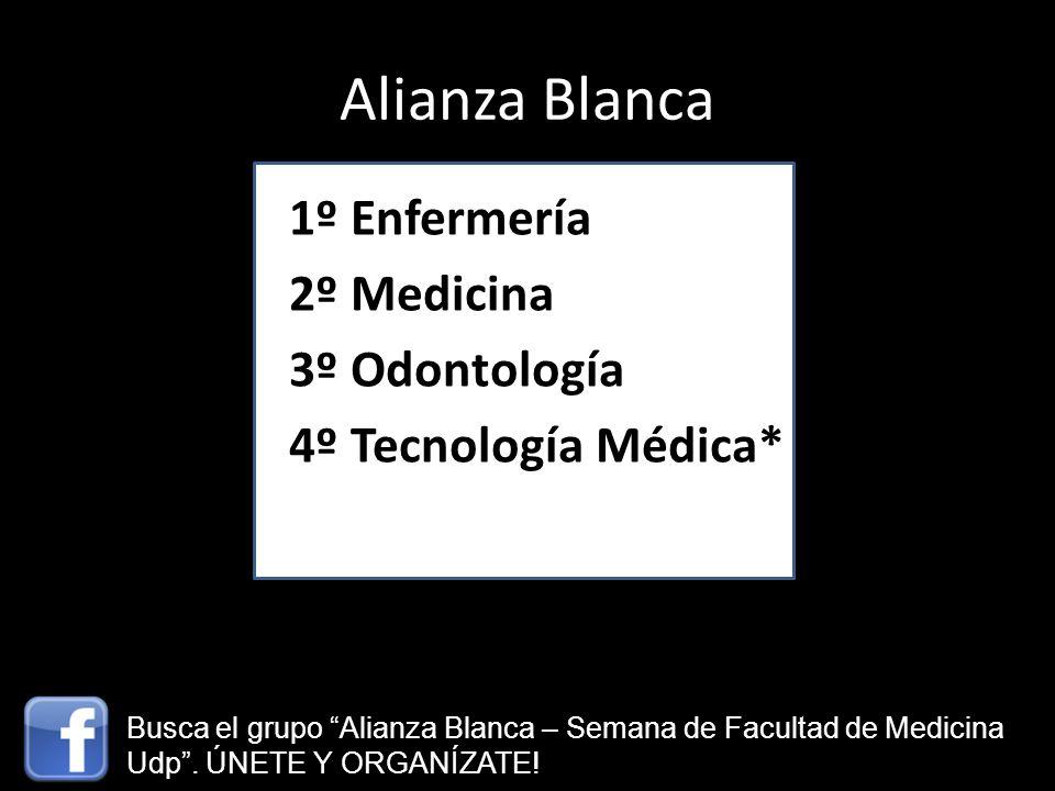 Alianza Blanca 1º Enfermería 2º Medicina 3º Odontología 4º Tecnología Médica* Busca el grupo Alianza Blanca – Semana de Facultad de Medicina Udp. ÚNET