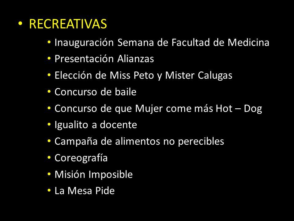 RECREATIVAS Inauguración Semana de Facultad de Medicina Presentación Alianzas Elección de Miss Peto y Mister Calugas Concurso de baile Concurso de que
