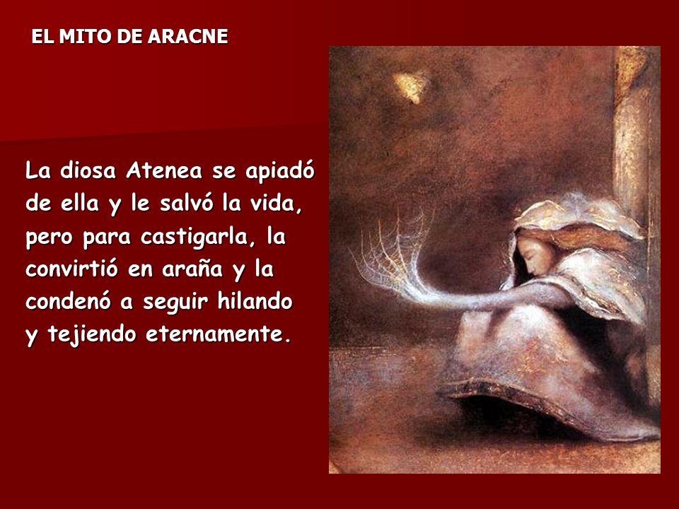 EL MITO DE ARACNE La diosa Atenea se apiadó de ella y le salvó la vida, pero para castigarla, la convirtió en araña y la condenó a seguir hilando y tejiendo eternamente.