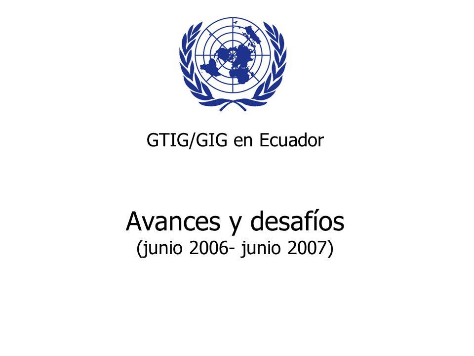 GTIG/GIG en Ecuador Avances y desafíos (junio 2006- junio 2007)