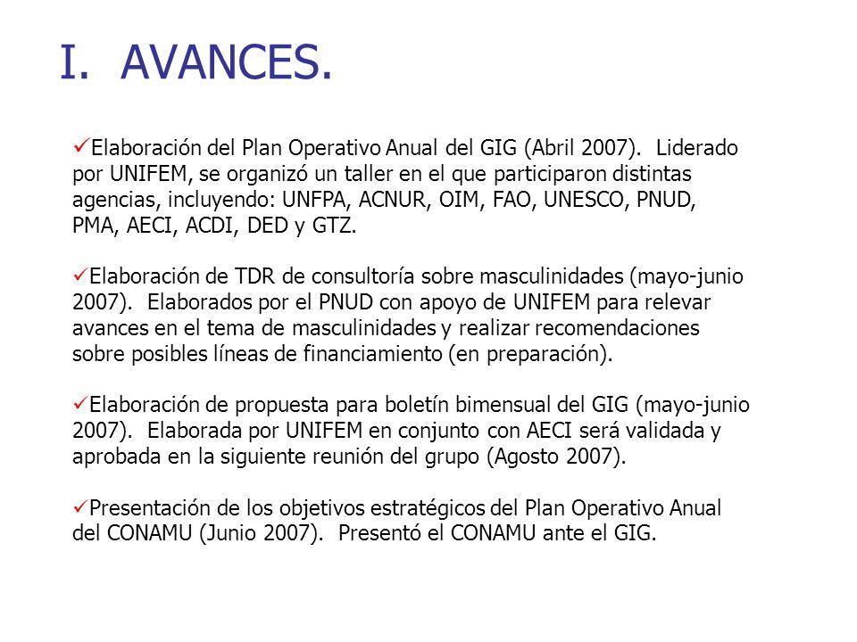 I. AVANCES. Elaboración del Plan Operativo Anual del GIG (Abril 2007).