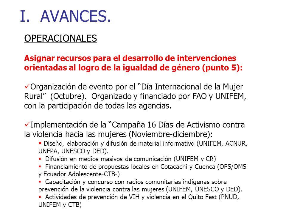 I. AVANCES.