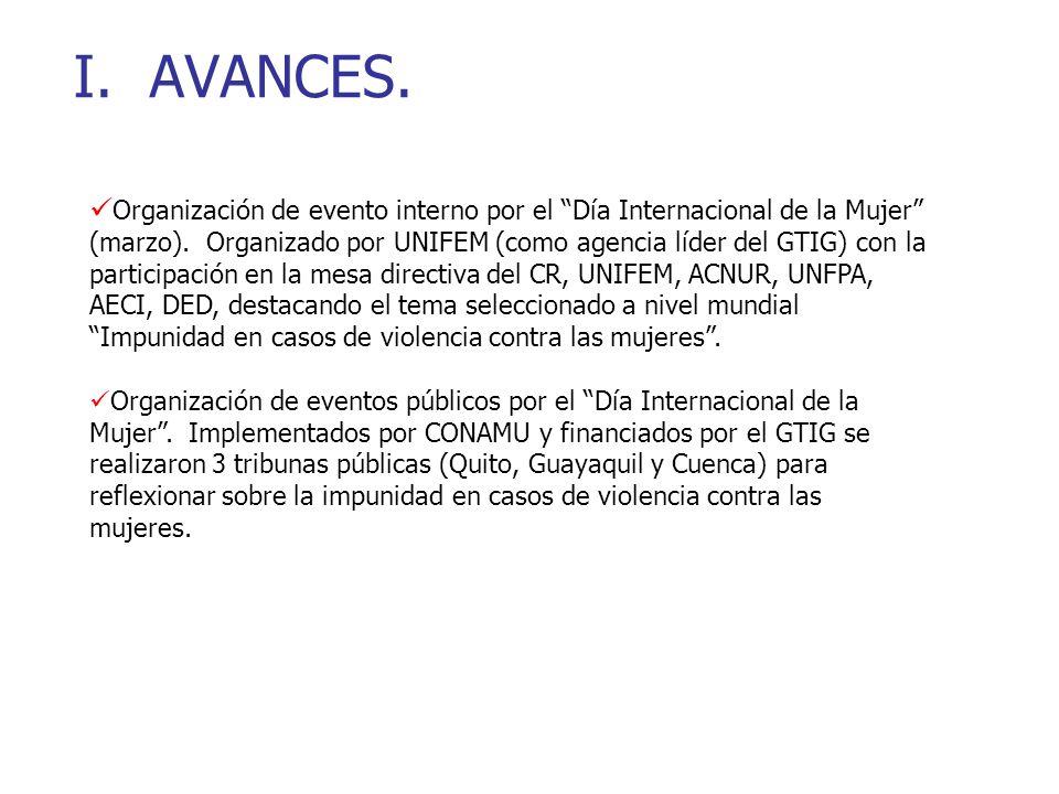 I. AVANCES. Organización de evento interno por el Día Internacional de la Mujer (marzo).
