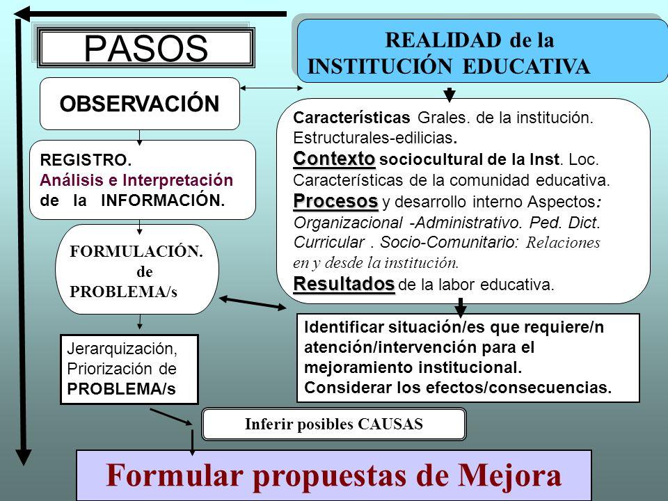 PASOS OBSERVACIÓN REGISTRO. Análisis e Interpretación de la INFORMACIÓN. Características Grales. de la institución. Estructurales-edilicias. Contexto