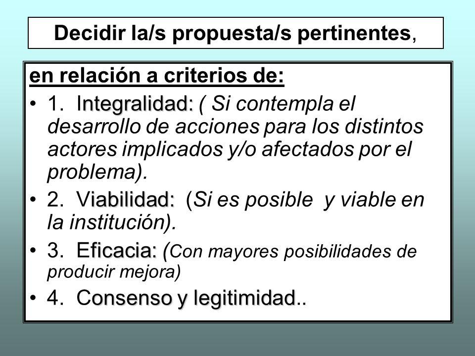 en relación a criterios de: ntegralidad:1. Integralidad: ( Si contempla el desarrollo de acciones para los distintos actores implicados y/o afectados