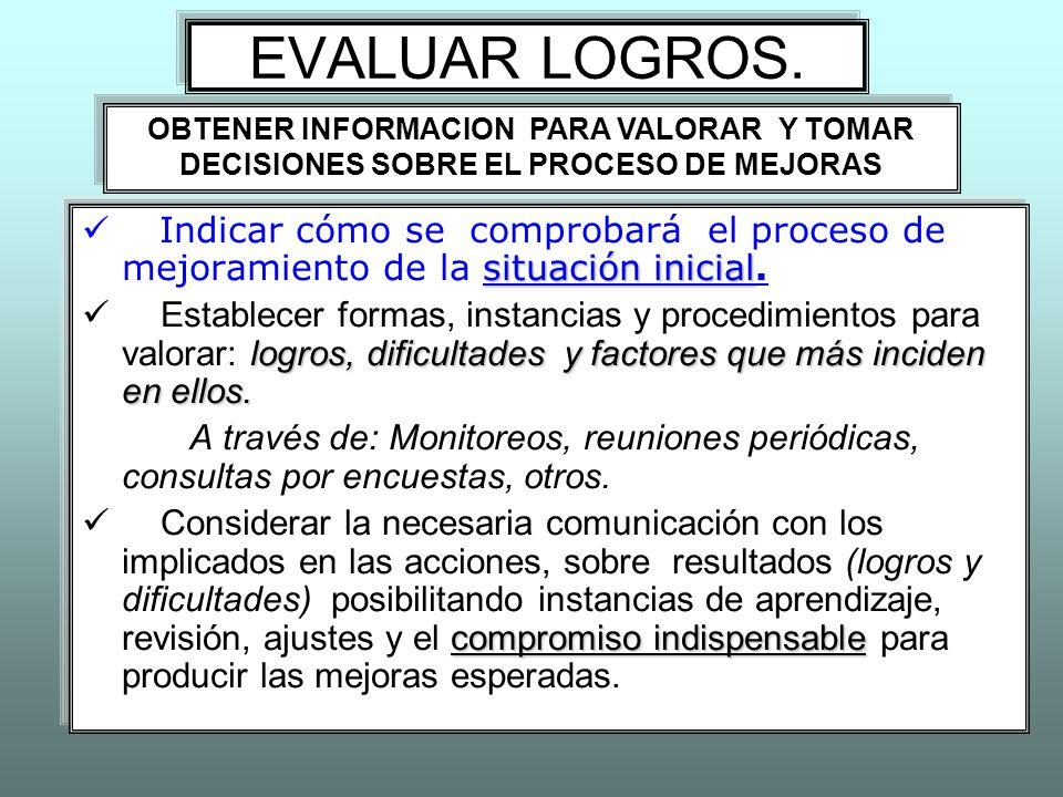 EVALUAR LOGROS. situación inicial Indicar cómo se comprobará el proceso de mejoramiento de la situación inicial. logros, dificultades y factores que m