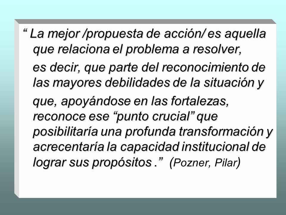 La mejor /propuesta de acción/ es aquella que relaciona el problema a resolver, La mejor /propuesta de acción/ es aquella que relaciona el problema a