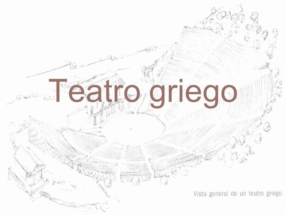 Dos partes: –Theatron (gradas) –Espacio de la representación: Orchestra lugar del coro con tymelé en el centro Skené, lugar de los actores –Hacia el 333 a.