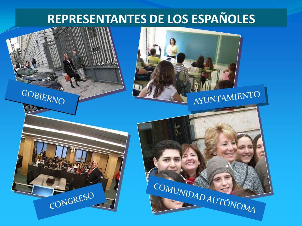 CONGRESO COMUNIDAD AUTÓNOMA GOBIERNO AYUNTAMIENTO REPRESENTANTES DE LOS ESPAÑOLES