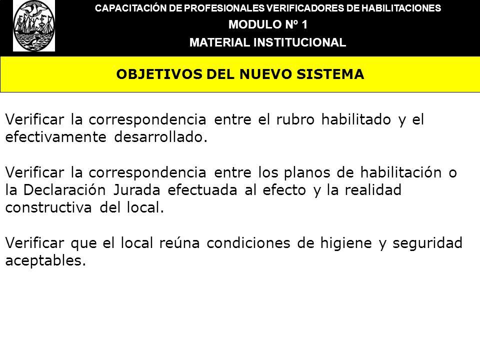 OBJETIVOS DEL NUEVO SISTEMA CAPACITACIÓN DE PROFESIONALES VERIFICADORES DE HABILITACIONES MODULO Nº 1 MATERIAL INSTITUCIONAL Verificar la corresponden