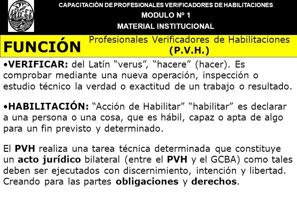 CAPACITACIÓN DE PROFESIONALES VERIFICADORES DE HABILITACIONES MODULO Nº 1 MATERIAL INSTITUCIONAL VERIFICAR: del Latín verus, hacere (hacer). Es compro