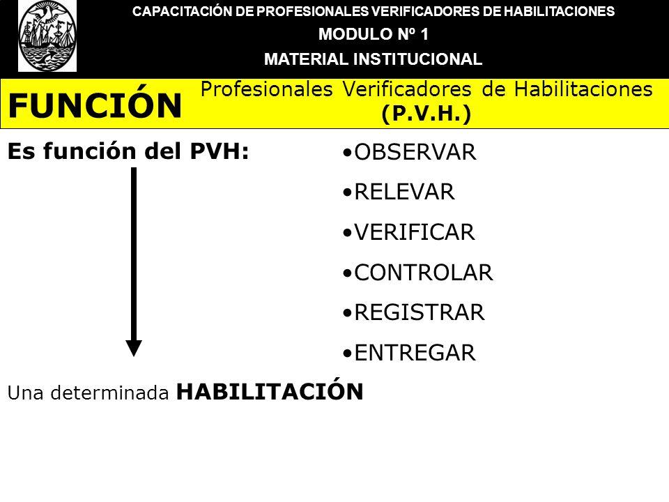 CAPACITACIÓN DE PROFESIONALES VERIFICADORES DE HABILITACIONES MODULO Nº 1 MATERIAL INSTITUCIONAL Es función del PVH:OBSERVAR RELEVAR VERIFICAR CONTROL