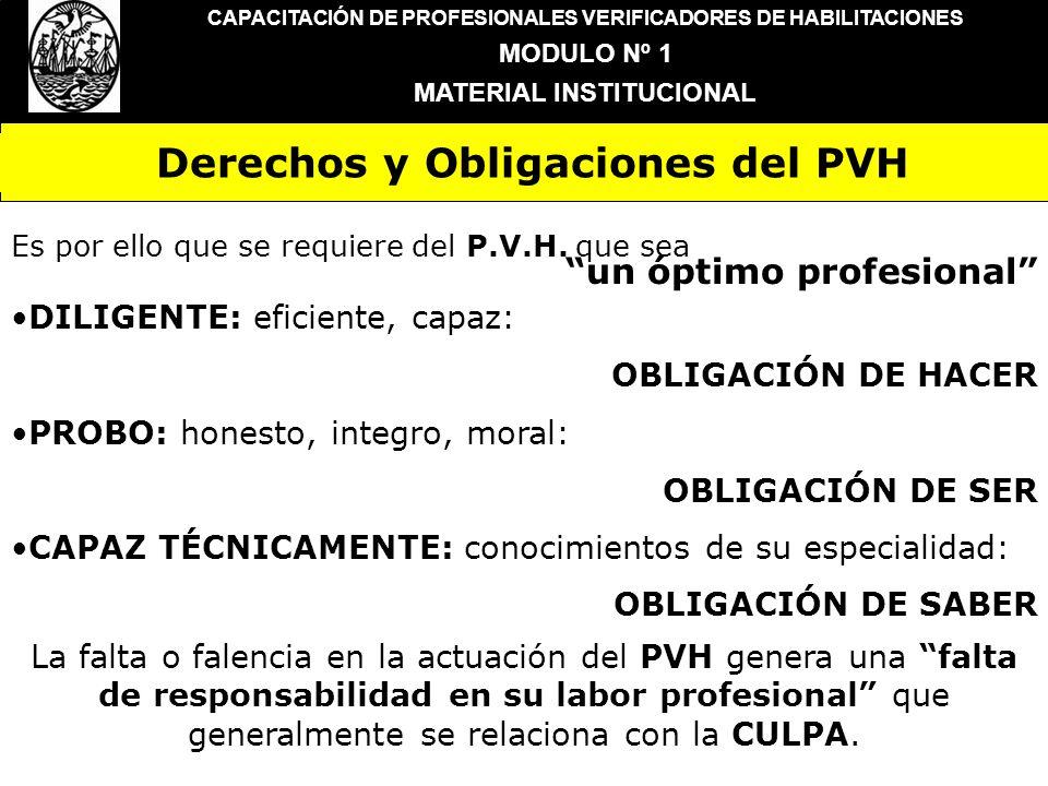 CAPACITACIÓN DE PROFESIONALES VERIFICADORES DE HABILITACIONES MODULO Nº 1 MATERIAL INSTITUCIONAL DILIGENTE: eficiente, capaz: OBLIGACIÓN DE HACER PROB
