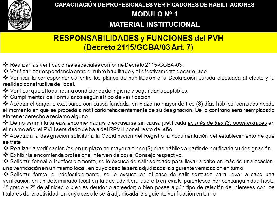 CAPACITACIÓN DE PROFESIONALES VERIFICADORES DE HABILITACIONES MODULO Nº 1 MATERIAL INSTITUCIONAL RESPONSABILIDADES y FUNCIONES del PVH (Decreto 2115/G