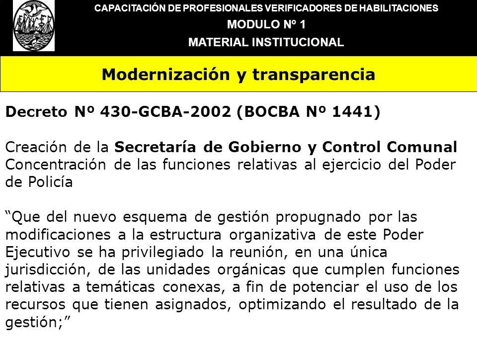 Modernización y transparencia CAPACITACIÓN DE PROFESIONALES VERIFICADORES DE HABILITACIONES MODULO Nº 1 MATERIAL INSTITUCIONAL Decreto Nº 430-GCBA-200