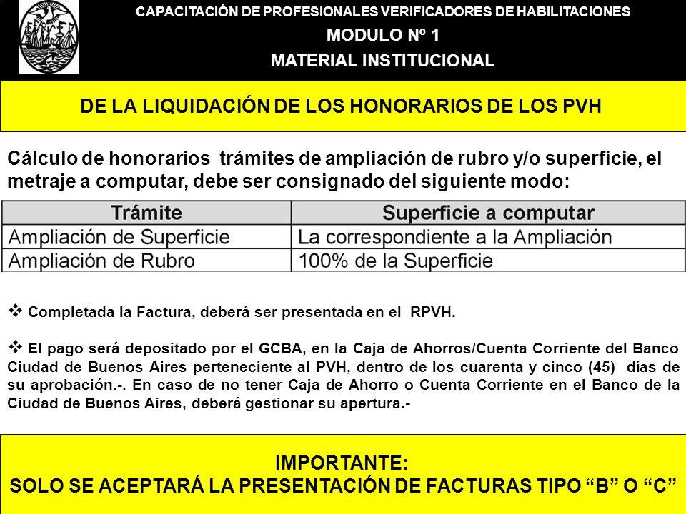 CAPACITACIÓN DE PROFESIONALES VERIFICADORES DE HABILITACIONES MODULO Nº 1 MATERIAL INSTITUCIONAL DE LA LIQUIDACIÓN DE LOS HONORARIOS DE LOS PVH Cálcul