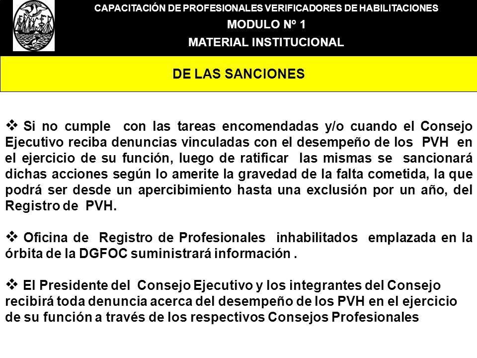 CAPACITACIÓN DE PROFESIONALES VERIFICADORES DE HABILITACIONES MODULO Nº 1 MATERIAL INSTITUCIONAL DE LAS SANCIONES Si no cumple con las tareas encomend
