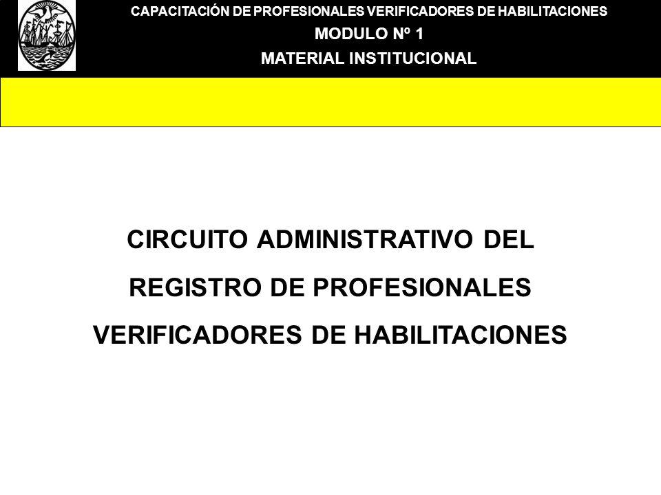 CAPACITACIÓN DE PROFESIONALES VERIFICADORES DE HABILITACIONES MODULO Nº 1 MATERIAL INSTITUCIONAL CIRCUITO ADMINISTRATIVO DEL REGISTRO DE PROFESIONALES