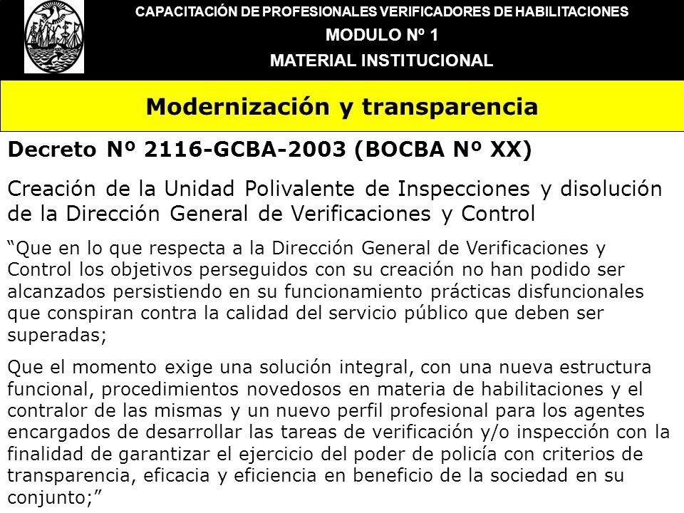 Modernización y transparencia CAPACITACIÓN DE PROFESIONALES VERIFICADORES DE HABILITACIONES MODULO Nº 1 MATERIAL INSTITUCIONAL Decreto Nº 2116-GCBA-20