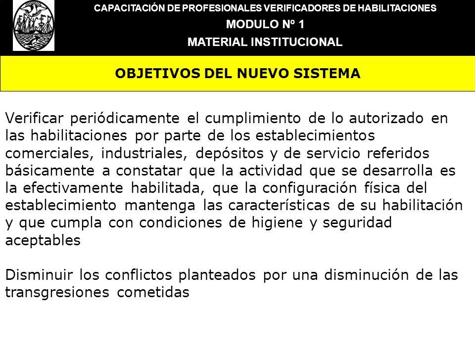 OBJETIVOS DEL NUEVO SISTEMA CAPACITACIÓN DE PROFESIONALES VERIFICADORES DE HABILITACIONES MODULO Nº 1 MATERIAL INSTITUCIONAL Verificar periódicamente