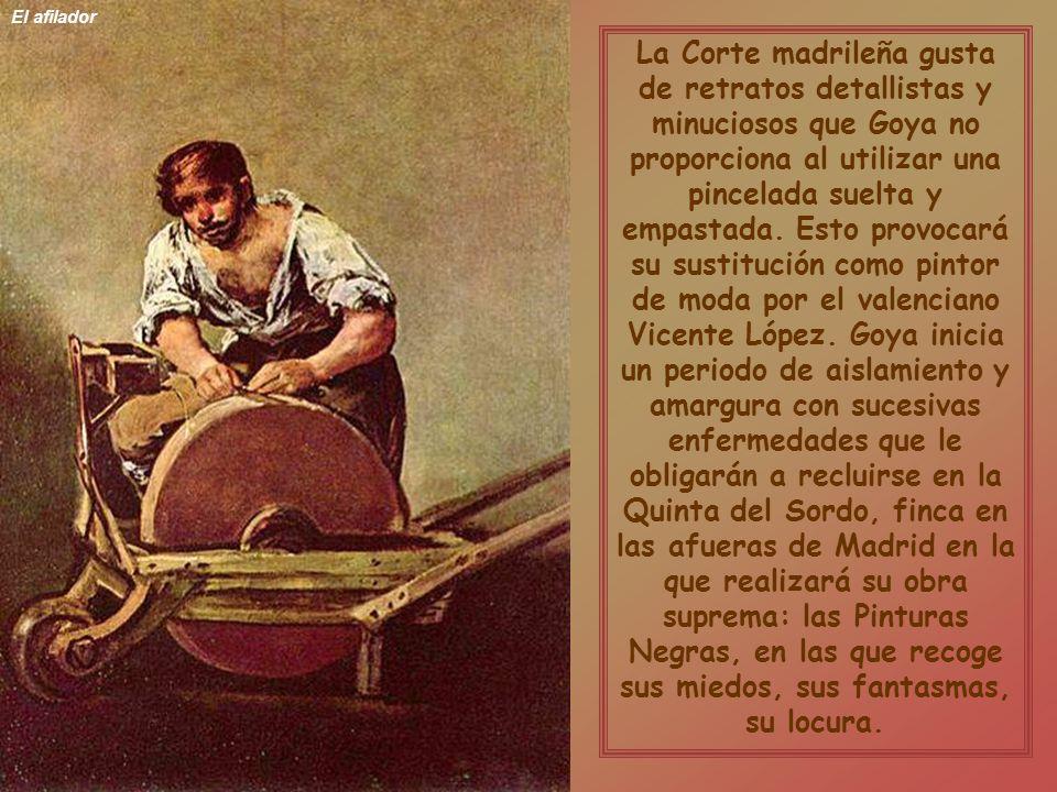 Alegoría de la Villa de Madrid Como Pintor de Cámara que es debe retratar a Fernando VII quien, en último término, evitará que culmine el proceso iniciado por la Inquisición contra el pintor por haber firmado láminas y grabados inmorales y por pintar la Maja Desnuda.