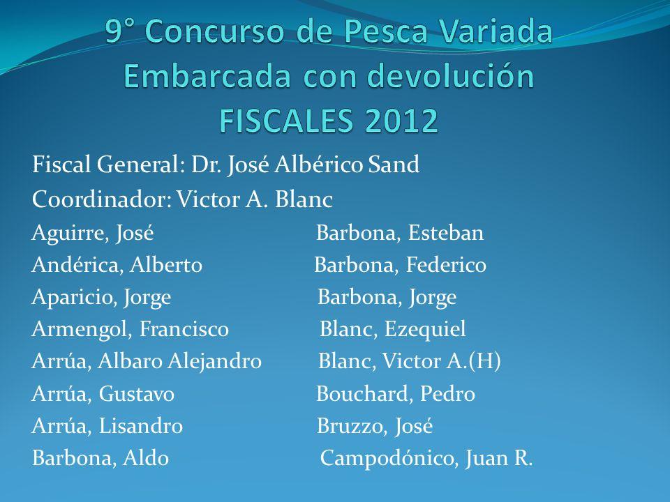 Fiscal General: Dr. José Albérico Sand Coordinador: Victor A. Blanc Aguirre, José Barbona, Esteban Andérica, Alberto Barbona, Federico Aparicio, Jorge