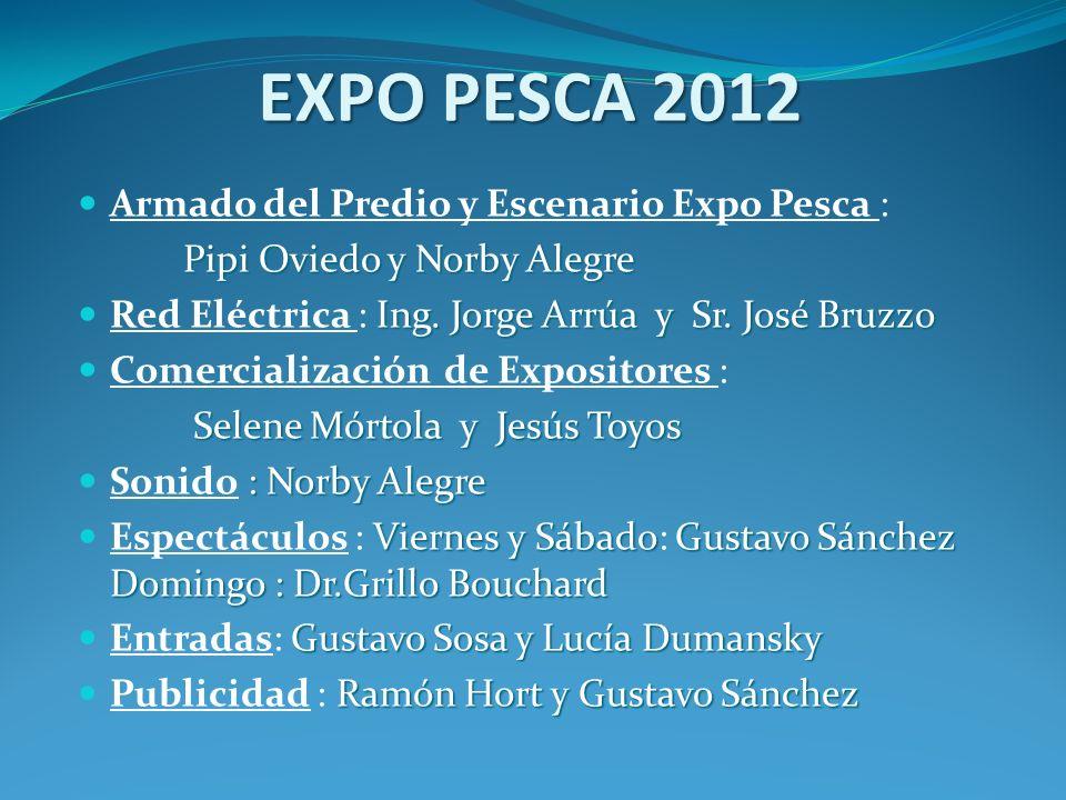 EXPO PESCA 2012 Armado del Predio y Escenario Expo Pesca : Pipi Oviedo y Norby Alegre Ing. Jorge Arrúa y Sr. José Bruzzo Red Eléctrica : Ing. Jorge Ar