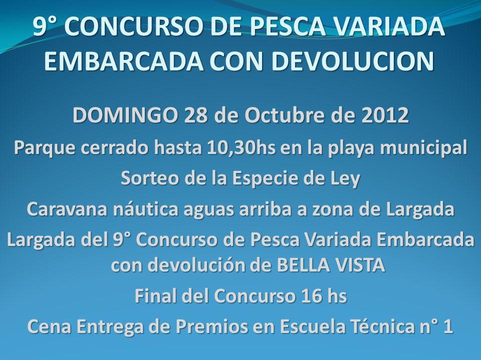 9° CONCURSO DE PESCA VARIADA EMBARCADA CON DEVOLUCION DOMINGO 28 de Octubre de 2012 Parque cerrado hasta 10,30hs en la playa municipal Sorteo de la Es