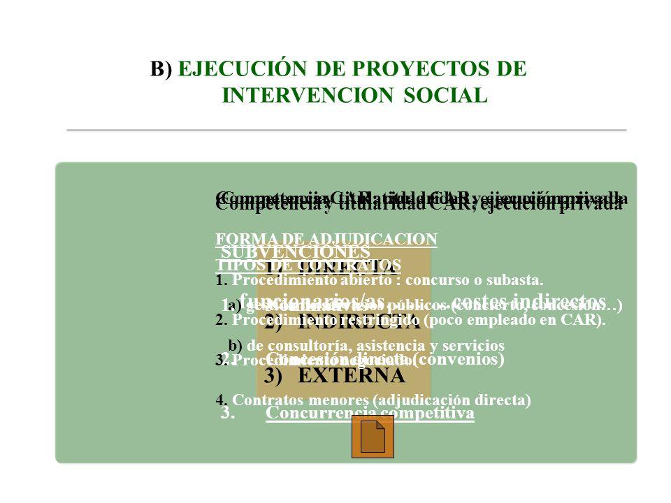 B) EJECUCIÓN DE PROYECTOS DE INTERVENCION SOCIAL 1)DIRECTA 2)INDIRECTA 3)EXTERNA funcionarios/as………costes indirectos Competencia y titularidad CAR; ej