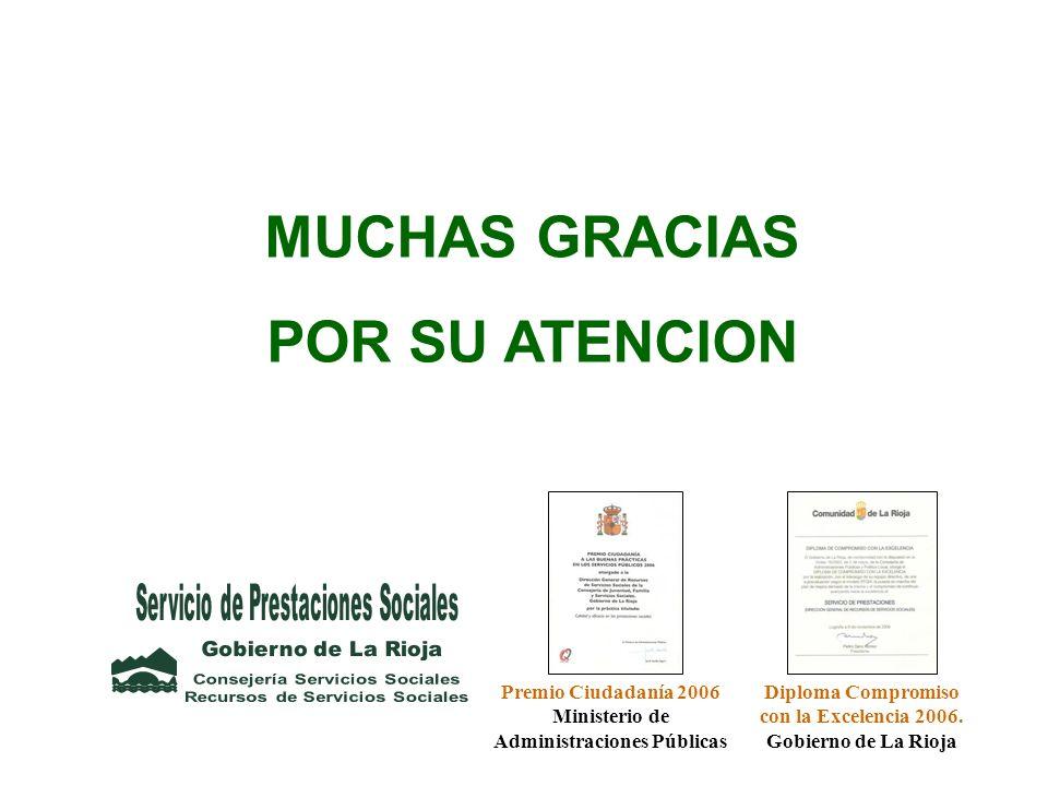 MUCHAS GRACIAS POR SU ATENCION Premio Ciudadanía 2006 Ministerio de Administraciones Públicas Diploma Compromiso con la Excelencia 2006. Gobierno de L