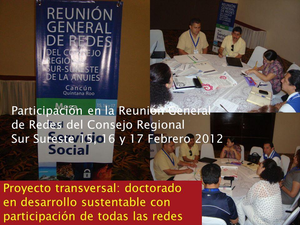 Participación en la Reunión General de Redes del Consejo Regional Sur Sureste 15, 16 y 17 Febrero 2012 Proyecto transversal: doctorado en desarrollo s