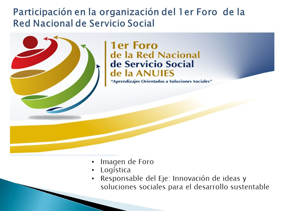 Participación en la organización del 1er Foro de la Red Nacional de Servicio Social Imagen de Foro Logística Responsable del Eje: Innovación de ideas