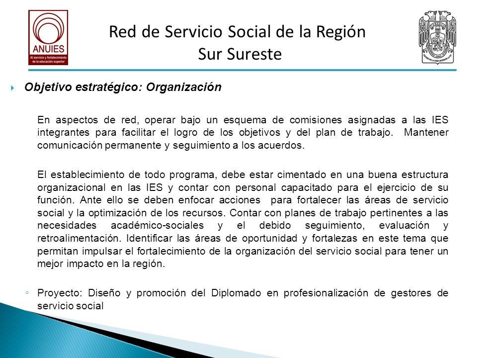 Objetivo estratégico: Organización En aspectos de red, operar bajo un esquema de comisiones asignadas a las IES integrantes para facilitar el logro de