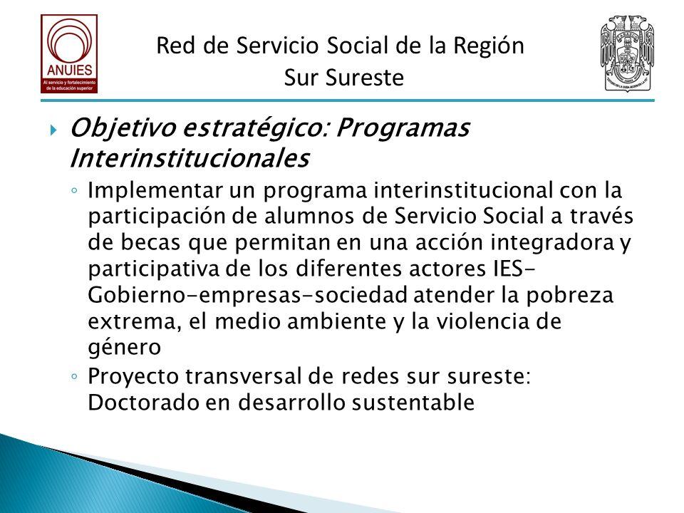 Objetivo estratégico: Programas Interinstitucionales Implementar un programa interinstitucional con la participación de alumnos de Servicio Social a t