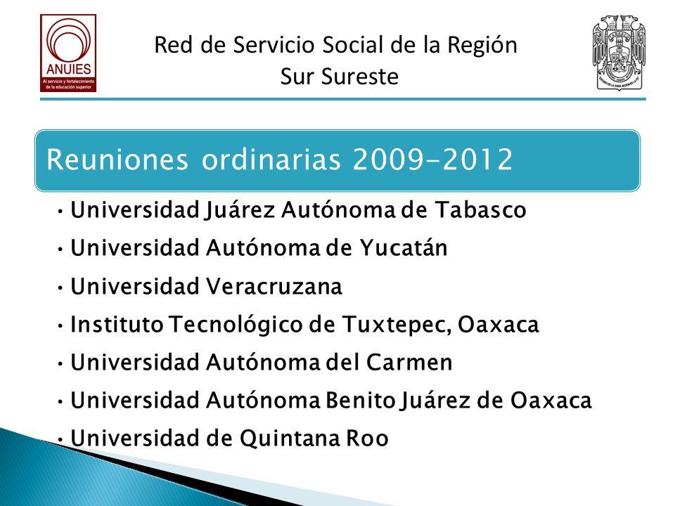 Reuniones ordinarias 2009-2012 Universidad Juárez Autónoma de Tabasco Universidad Autónoma de Yucatán Universidad Veracruzana Instituto Tecnológico de