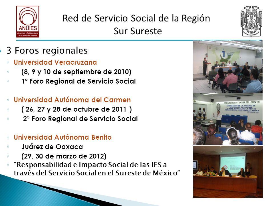 3 Foros regionales Universidad Veracruzana (8, 9 y 10 de septiembre de 2010) 1º Foro Regional de Servicio Social Universidad Autónoma del Carmen ( 26,
