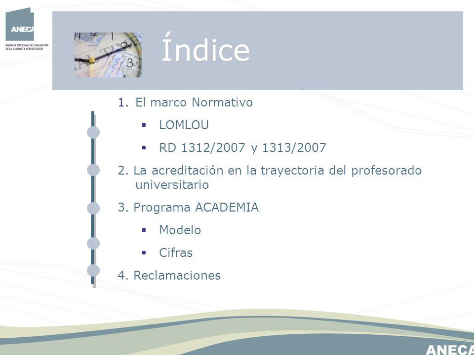 1.El marco Normativo LOMLOU RD 1312/2007 y 1313/2007 2. La acreditación en la trayectoria del profesorado universitario 3. Programa ACADEMIA Modelo Ci