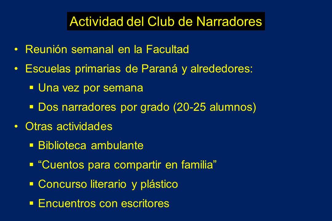 Actividad del Club de Narradores Reunión semanal en la Facultad Escuelas primarias de Paraná y alrededores: Una vez por semana Dos narradores por grad