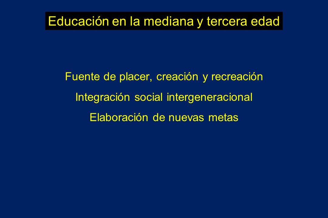 Educación en la mediana y tercera edad Fuente de placer, creación y recreación Integración social intergeneracional Elaboración de nuevas metas