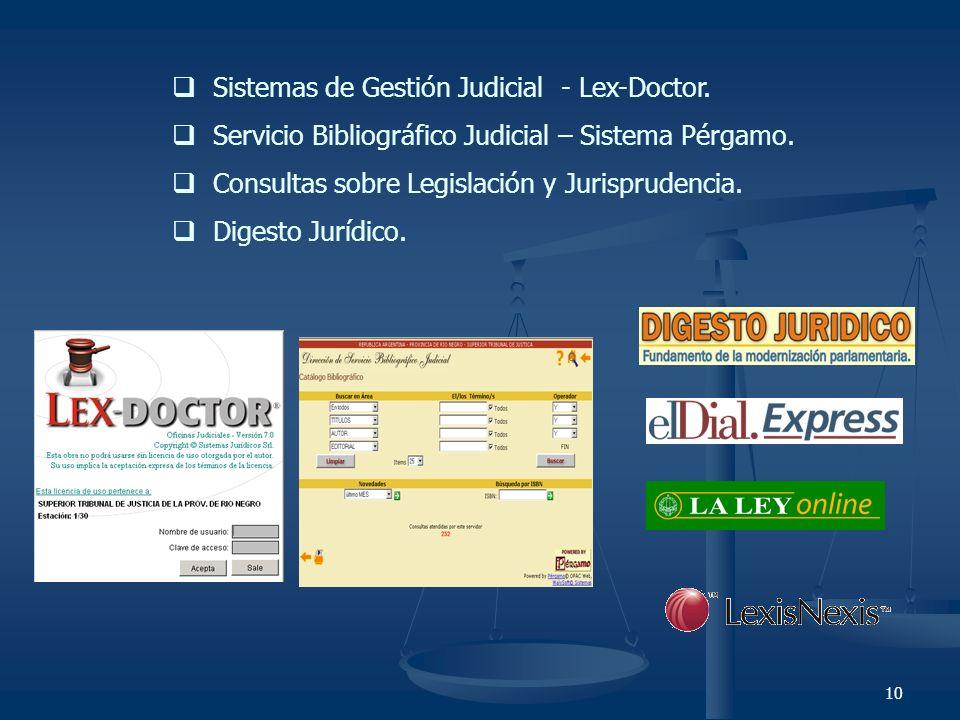 10 Sistemas de Gestión Judicial - Lex-Doctor. Servicio Bibliográfico Judicial – Sistema Pérgamo. Consultas sobre Legislación y Jurisprudencia. Digesto