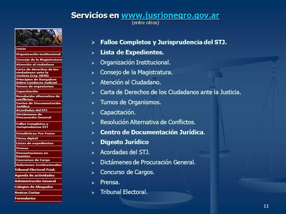 11 Fallos Completos y Jurisprudencia del STJ. Lista de Expedientes. Organización Institucional. Consejo de la Magistratura. Atención al Ciudadano. Car