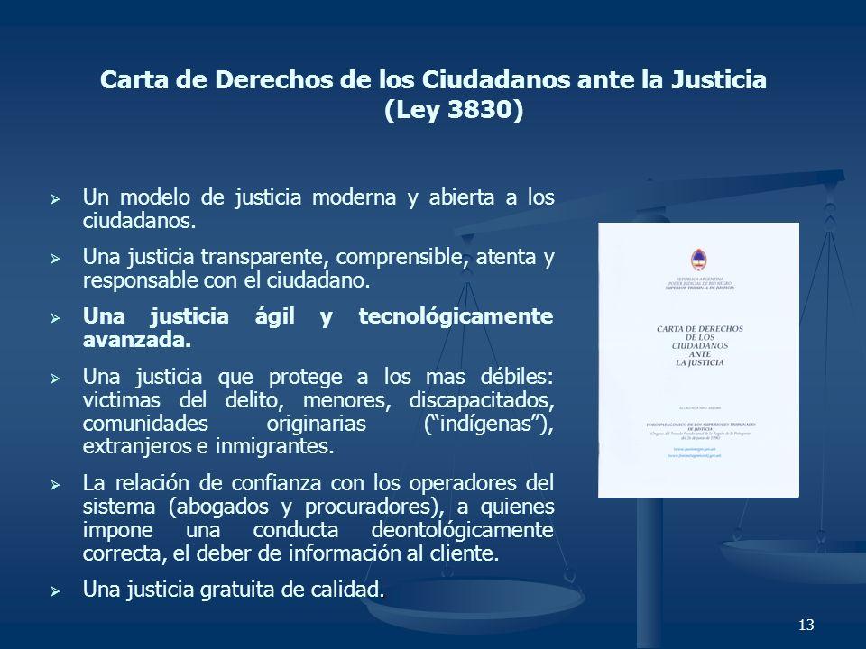 13 Carta de Derechos de los Ciudadanos ante la Justicia (Ley 3830) Un modelo de justicia moderna y abierta a los ciudadanos. Una justicia transparente