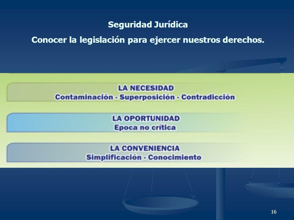 16 Seguridad Jurídica Conocer la legislación para ejercer nuestros derechos.