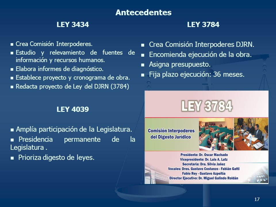 17 LEY 3434 Crea Comisión Interpoderes. Estudio y relevamiento de fuentes de información y recursos humanos. Elabora informes de diagnóstico. Establec