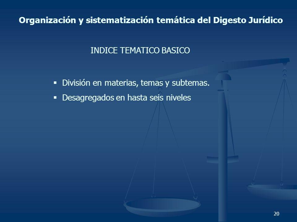 20 Organización y sistematización temática del Digesto Jurídico INDICE TEMATICO BASICO División en materias, temas y subtemas. Desagregados en hasta s