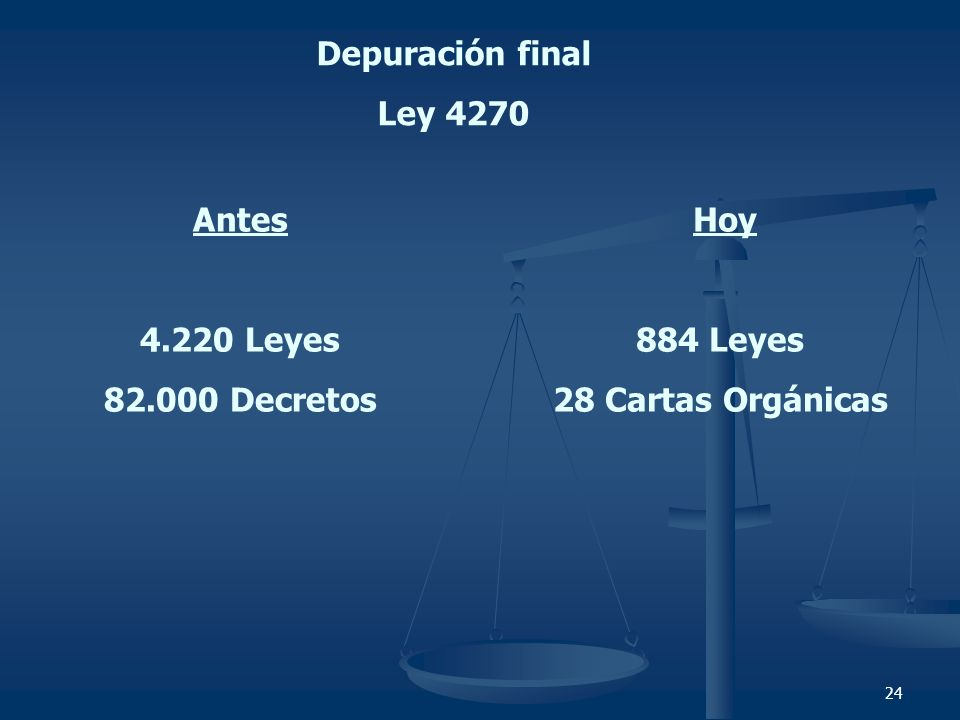 24 Depuración final Ley 4270 Antes 4.220 Leyes 82.000 Decretos Hoy 884 Leyes 28 Cartas Orgánicas